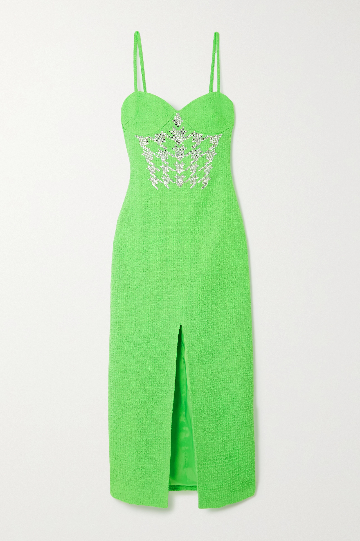 David Koma Crystal-embellished wool-blend bouclé midi dress