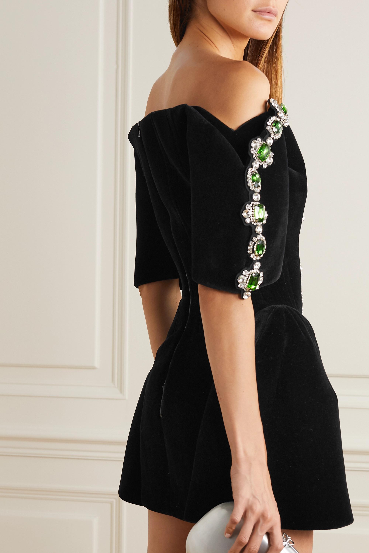 David Koma Off-the-shoulder crystal-embellished velvet mini dress