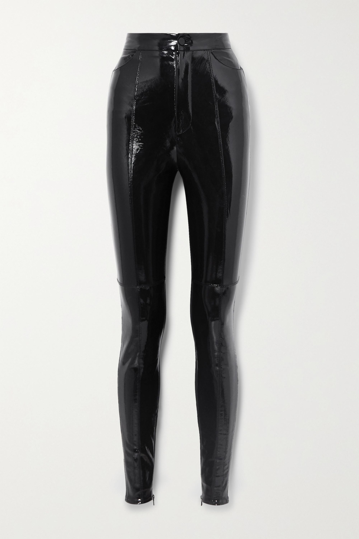 David Koma Paneled patent-leather and crepe leggings