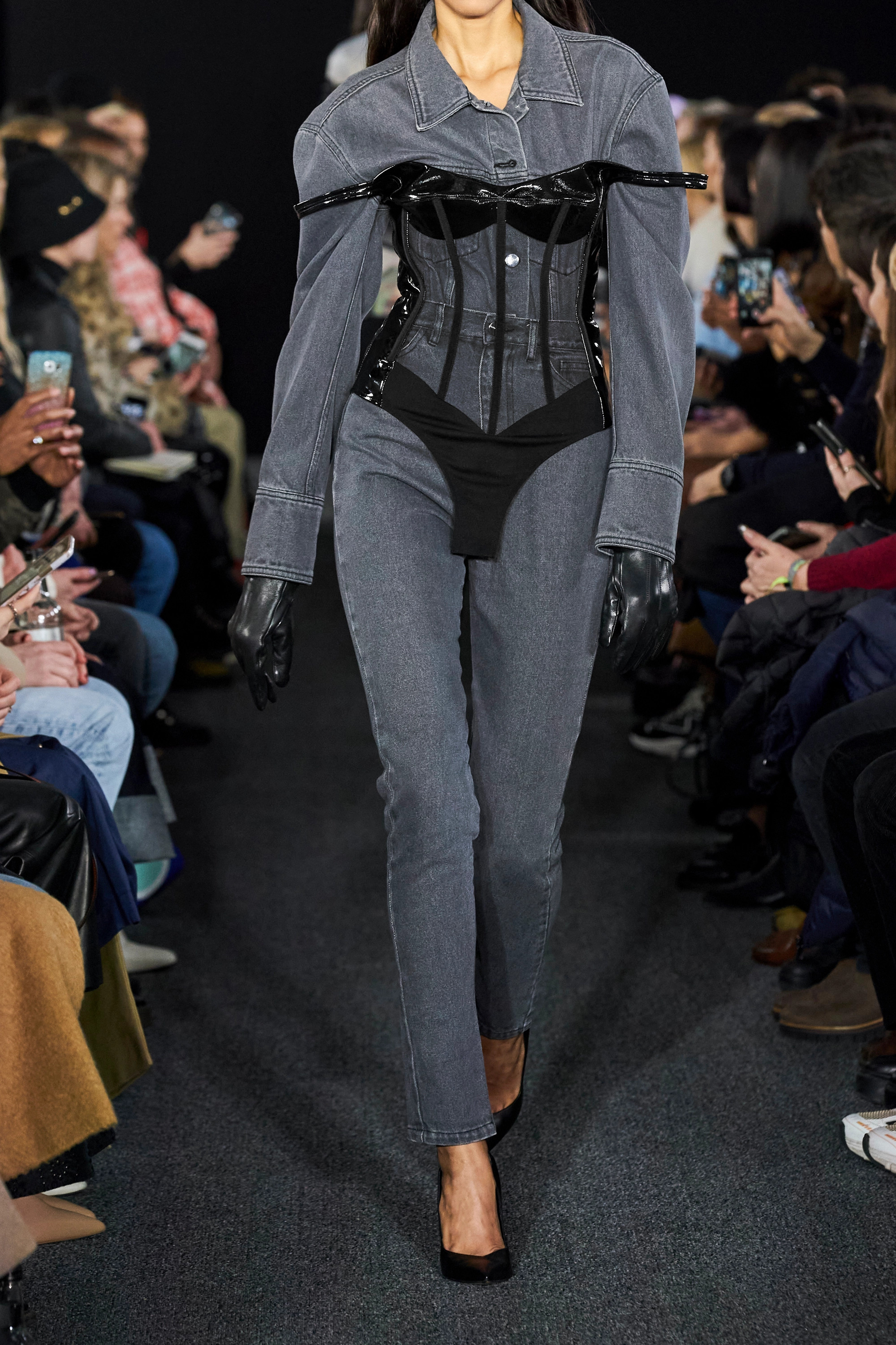 David Koma Patent-leather and tulle bodysuit
