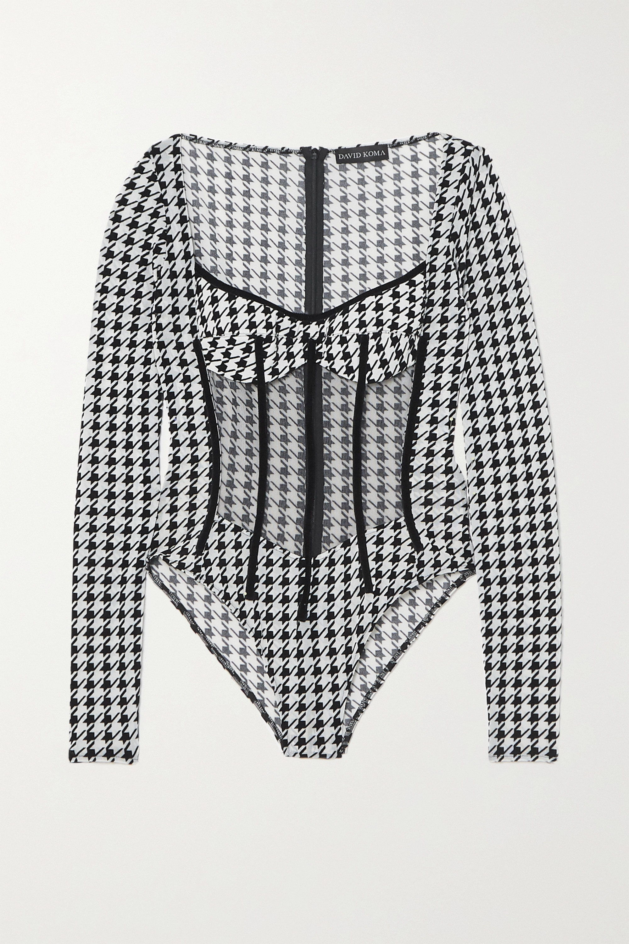 David Koma Velvet-trimmed houndstooth stretch-jersey and tulle bodysuit