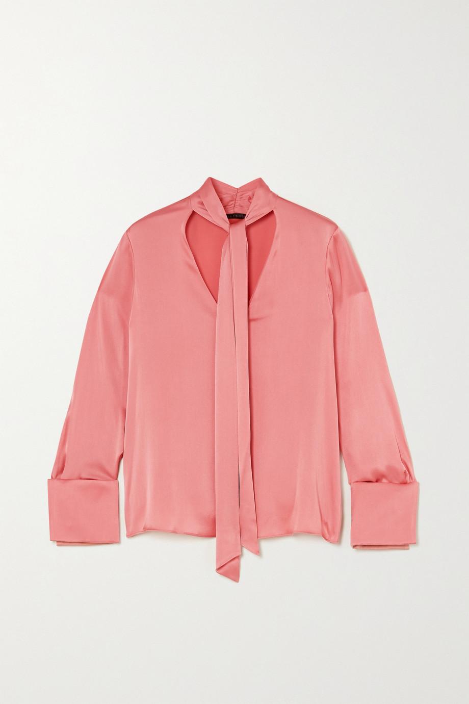Alice + Olivia Rosina pussy-bow silk-blend satin blouse