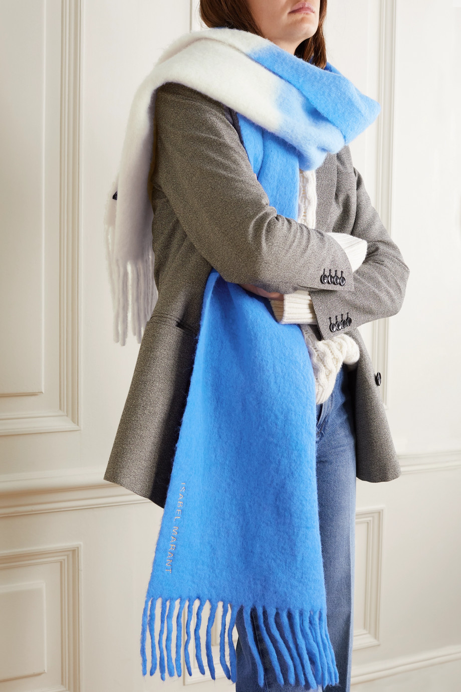 Isabel Marant Firna fringed ombré alpaca-blend scarf