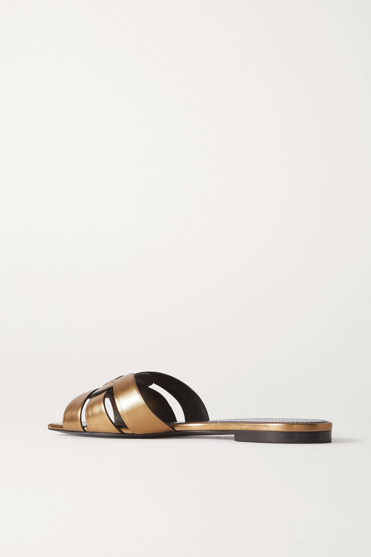 SAINT LAURENT Nu Pieds woven metallic leather slides