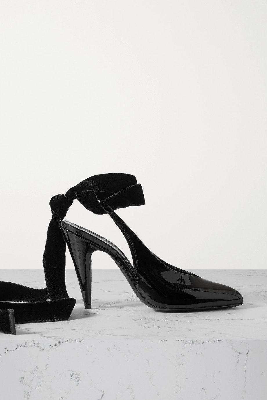 SAINT LAURENT Velvet-trimmed patent-leather slingback pumps