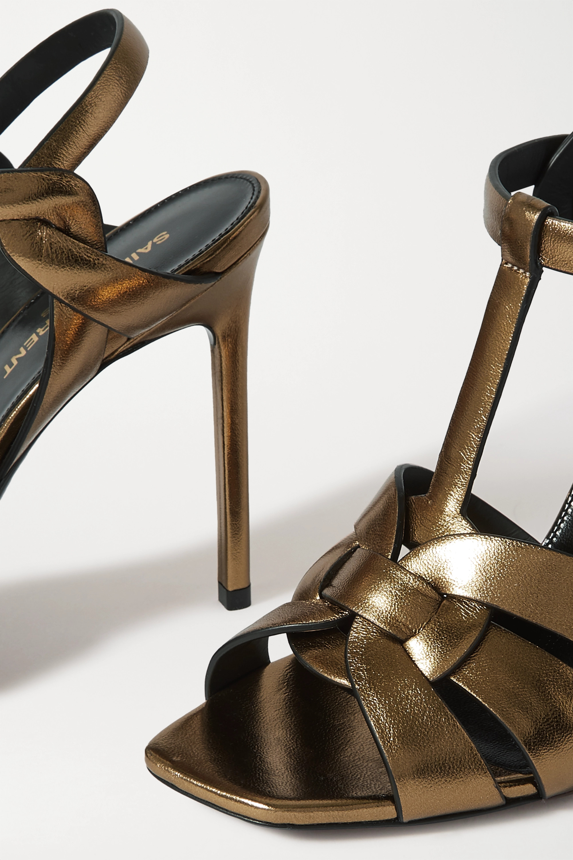 SAINT LAURENT Sandales en cuir métallisé tressé Catri