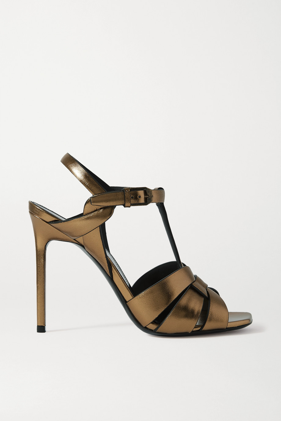 SAINT LAURENT Catri woven metallic leather sandals
