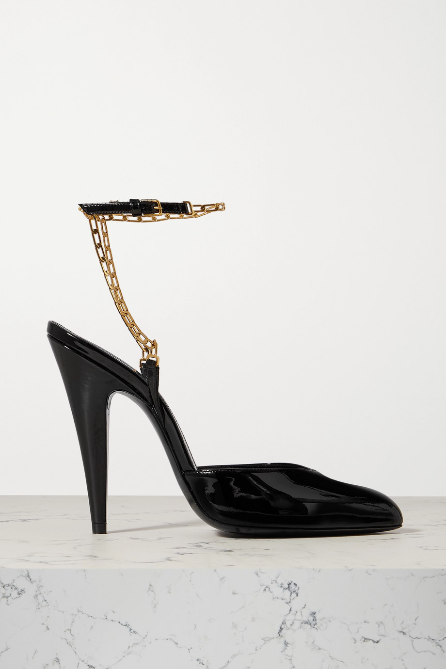 SAINT LAURENT Kika chain-embellished patent-leather pumps