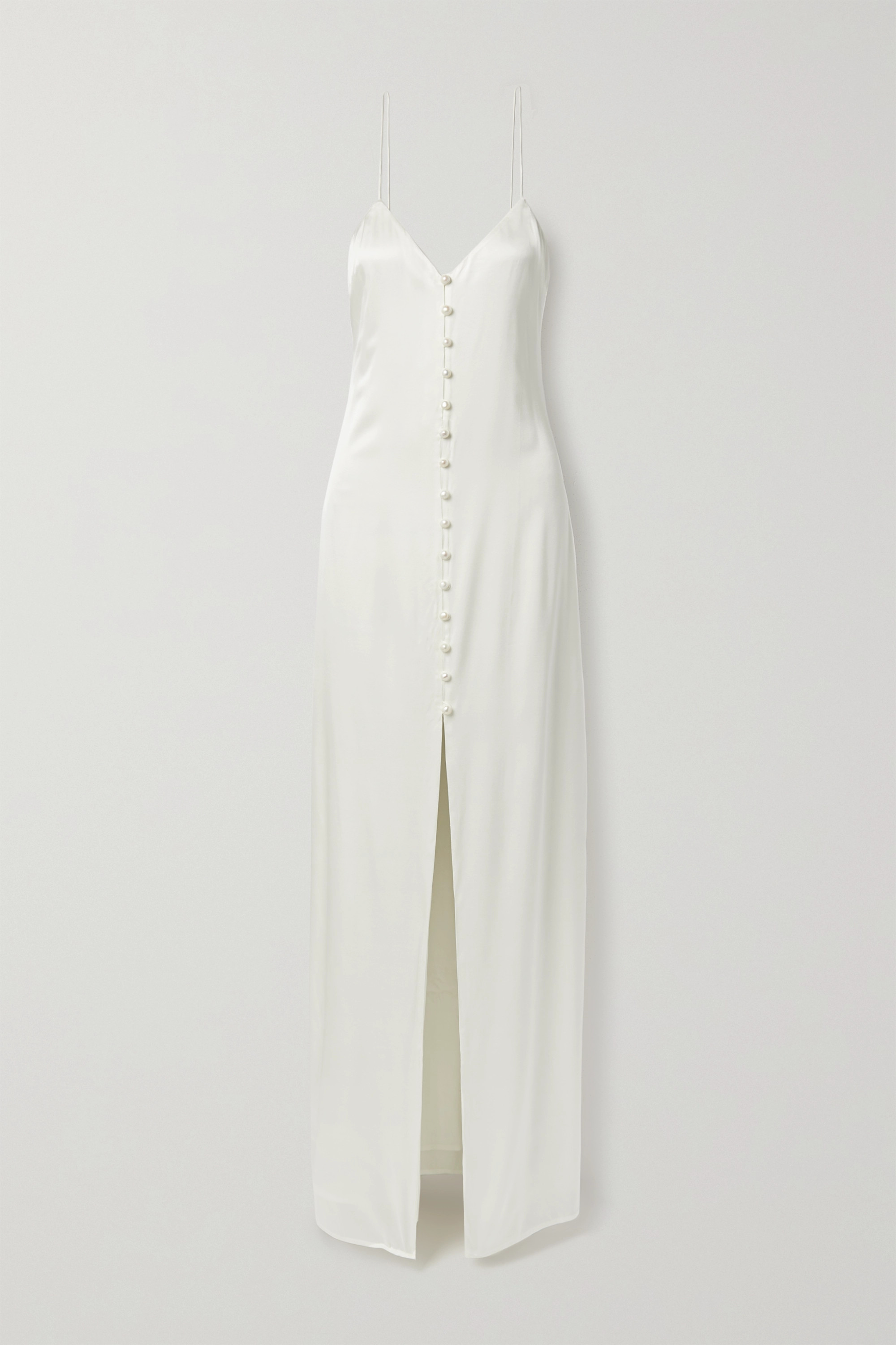Cami NYC The Aaliyah pearl-embellished silk-blend charmeuse gown