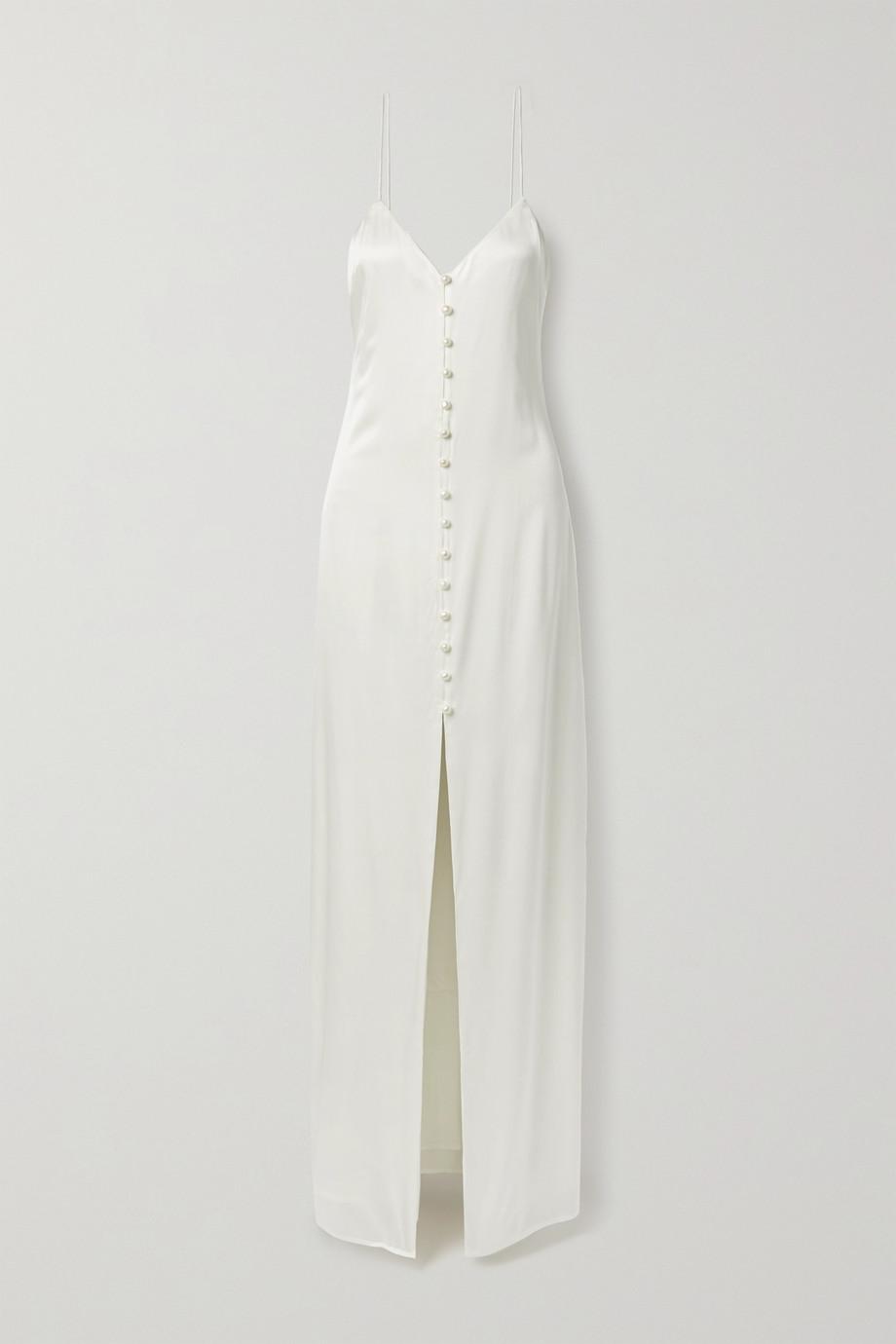 Cami NYC Robe du soir en charmeuse de soie mélangée à perles The Aaliyah