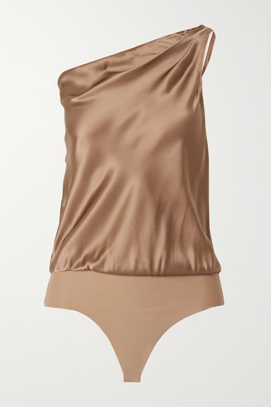 Cami Nyc THE DARBY ONE-SHOULDER SILK-CHARMEUSE AND STRETCH-JERSEY THONG BODYSUIT