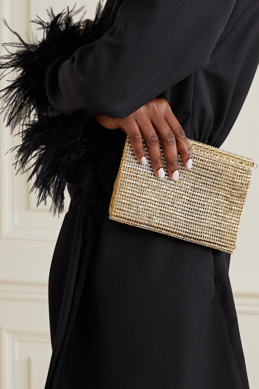 Rosantica Melissa crystal-embellished gold-tone clutch