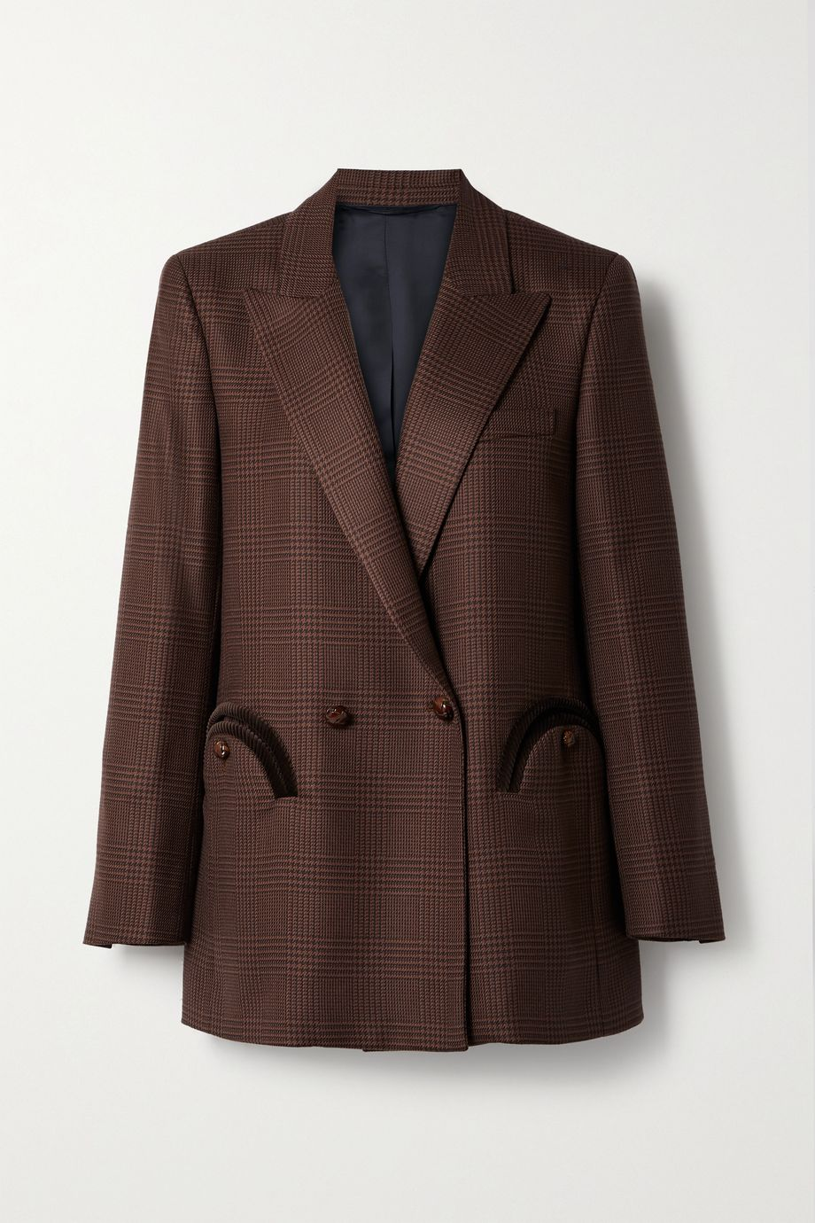Blazé Milano Voyager Everyday double-breasted corduroy-trimmed checked wool blazer