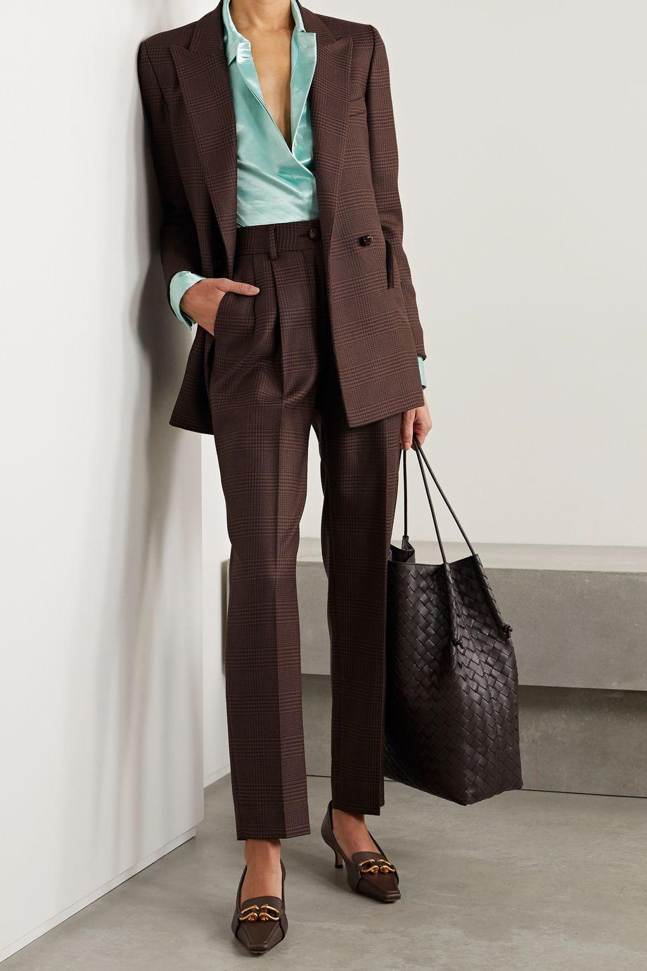 Blazé Milano Voyager Everyday 双排扣灯芯绒边饰格纹羊毛西装外套