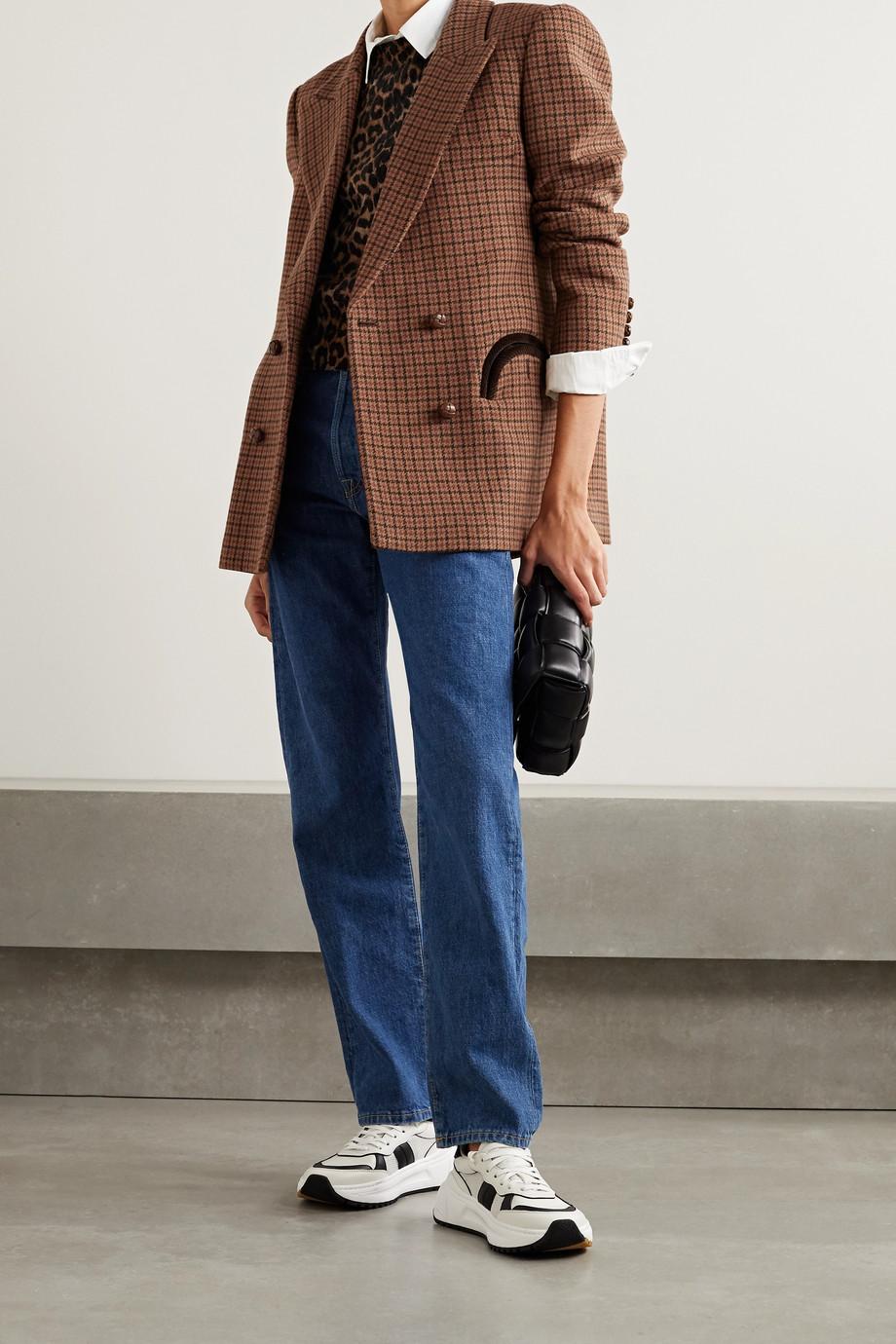 Blazé Milano Rembrandt Everynight 双排扣灯芯绒边饰格纹羊毛西装外套
