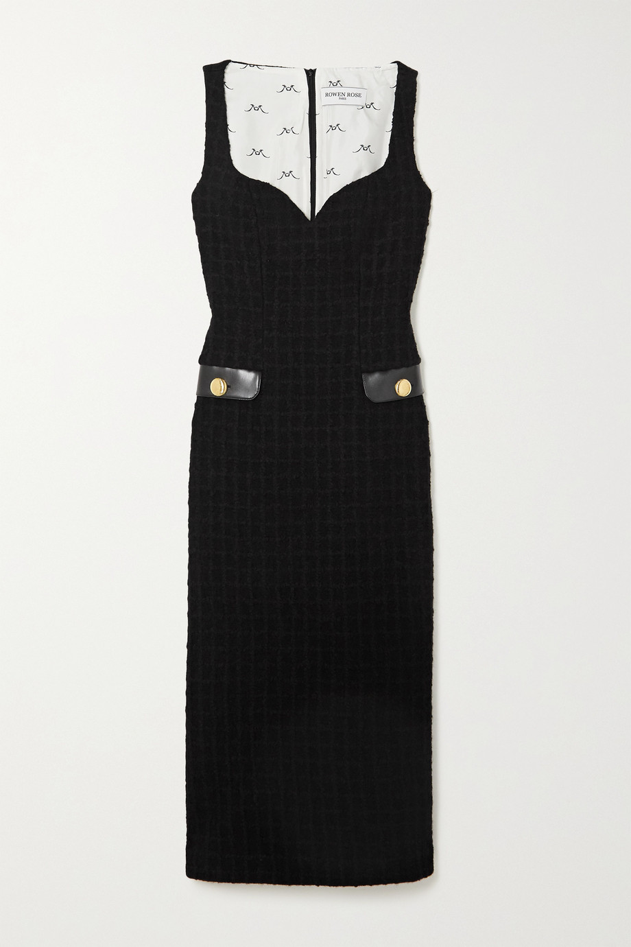 Rowen Rose Faux leather-trimmed wool-blend tweed midi dress