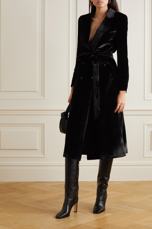Black Etoile Belted Silk Blend Velvet Midi Dress Blaze Milano Net A Porter