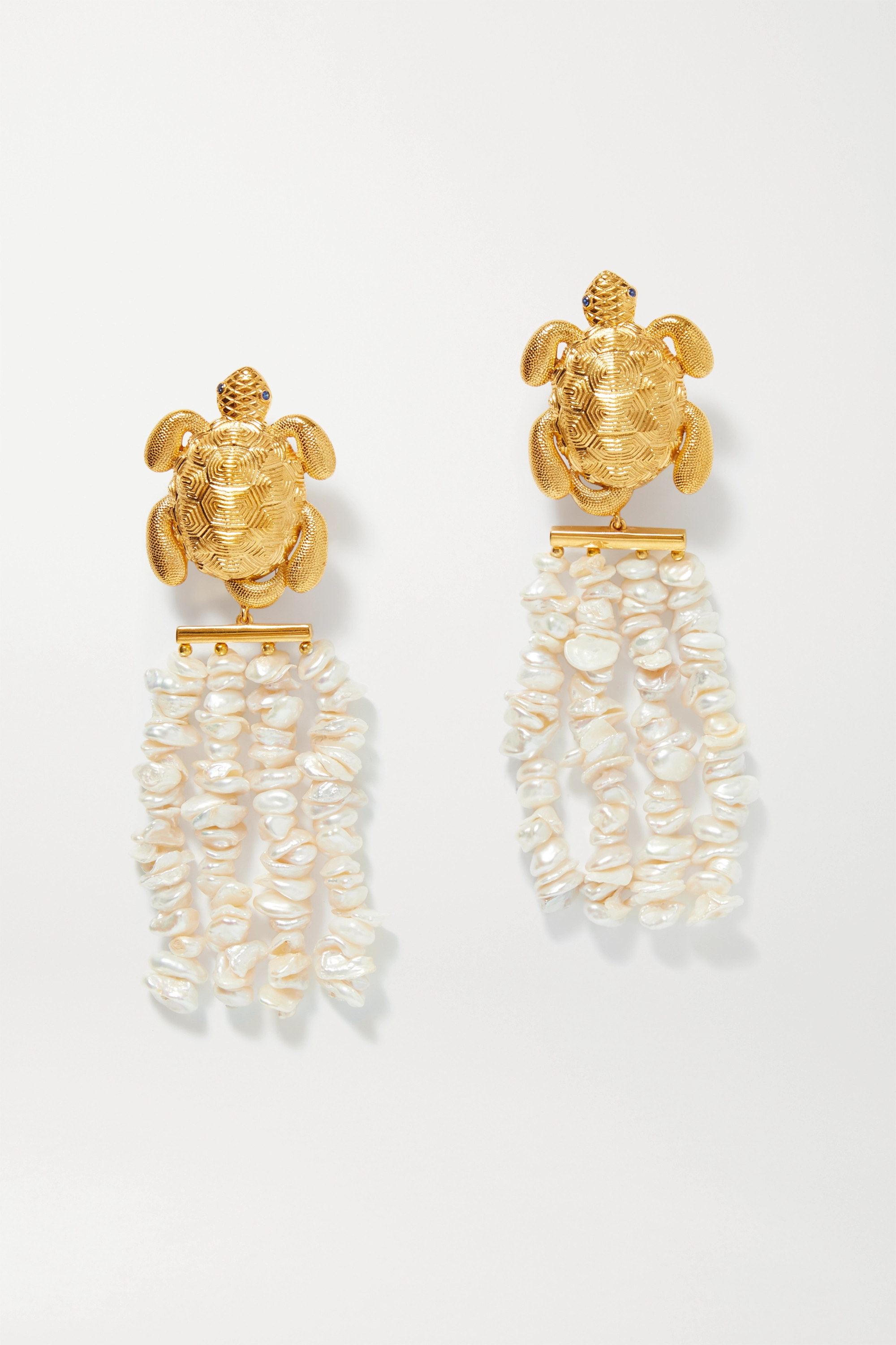 Begüm Khan Tortuga Florence gold-plated, pearl and crystal clip earrings