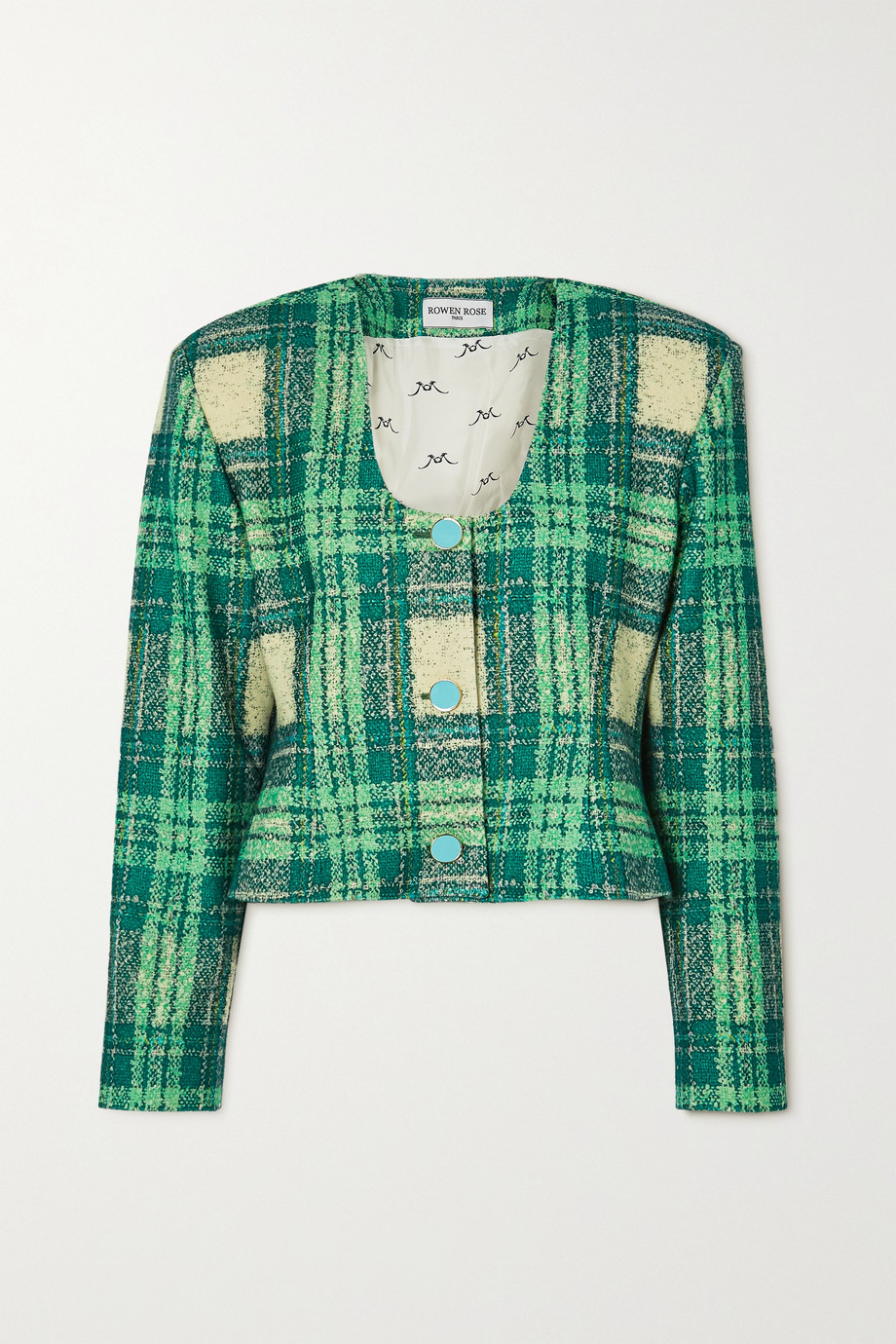 Rowen Rose Cropped checked wool-bouclé jacket