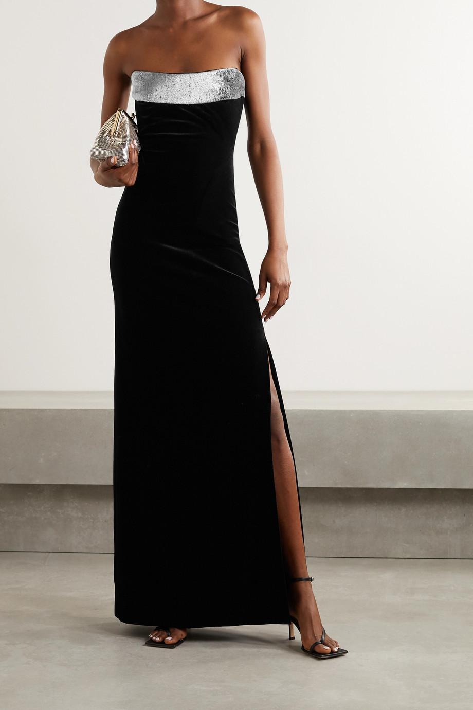 Galvan Strapless Lurex-trimmed velvet gown