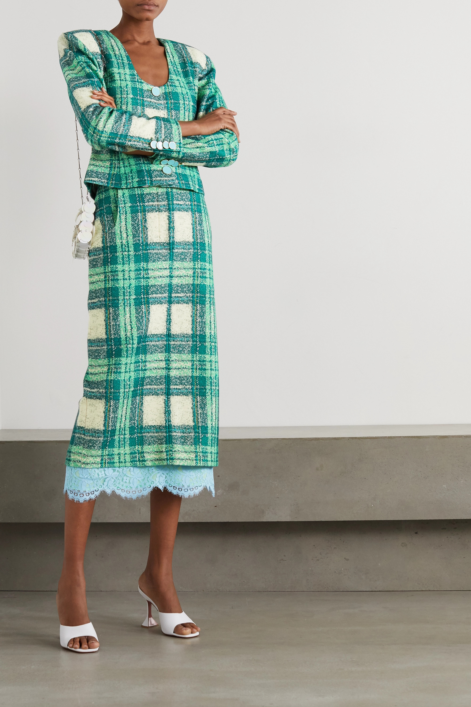 Rowen Rose Lace-trimmed checked wool-bouclé midi skirt
