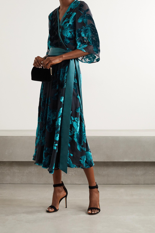 Galvan Satin-trimmed devoré-velvet wrap midi dress