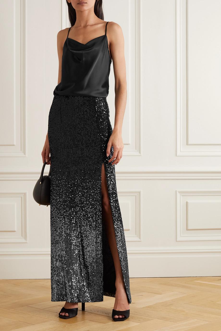 Galvan Mercury sequined woven maxi skirt