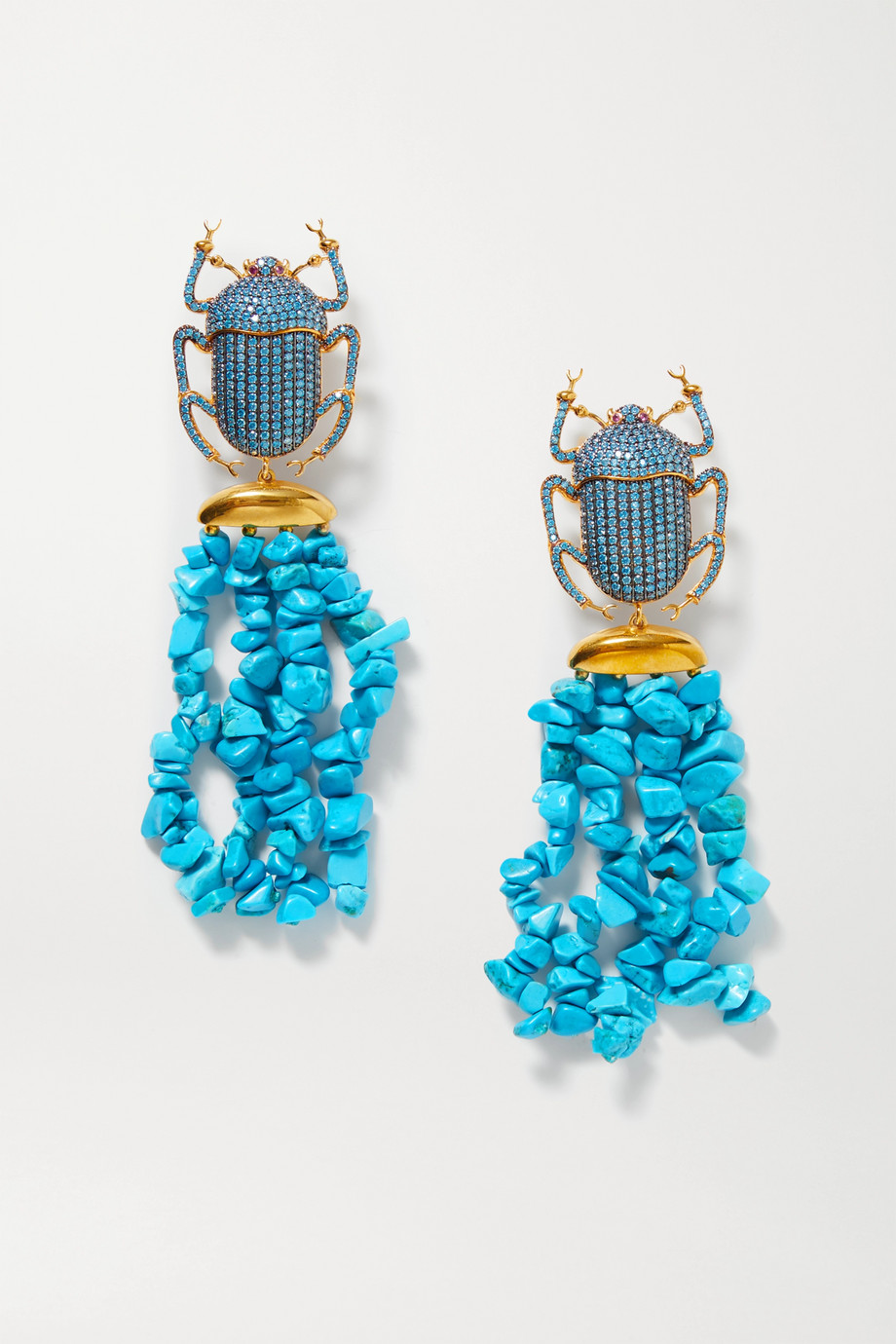Begüm Khan Pharaoh Patmos gold-plated, turquoise and crystal clip earrings