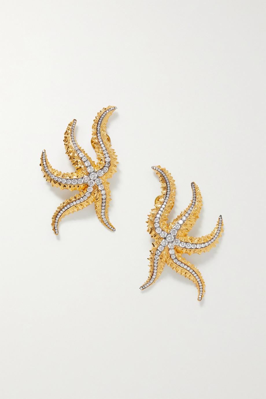 Begüm Khan Sirena gold-plated crystal clip earrings