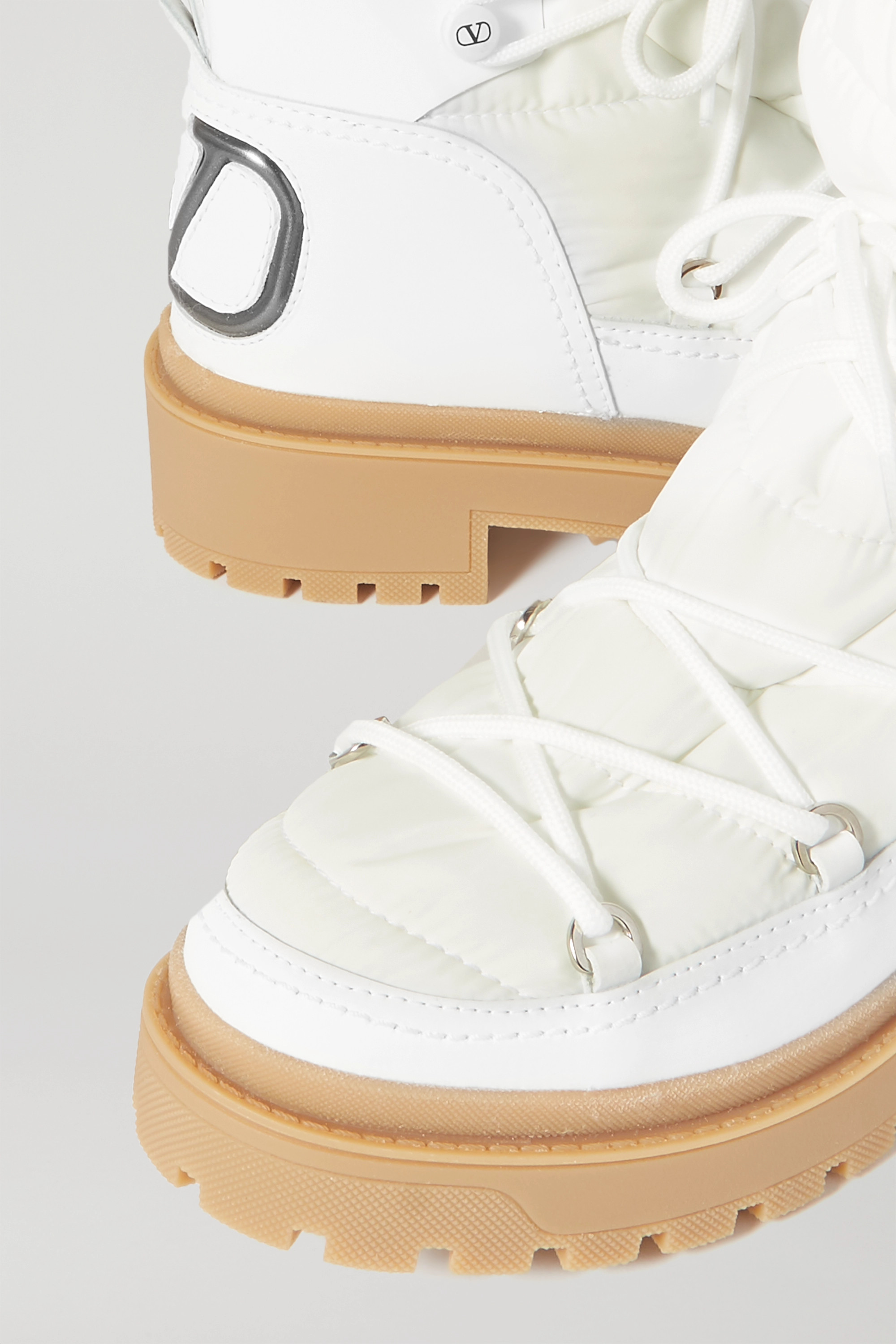 Valentino Valentino Garavani logo-detailed leather and quilted shell ankle boots
