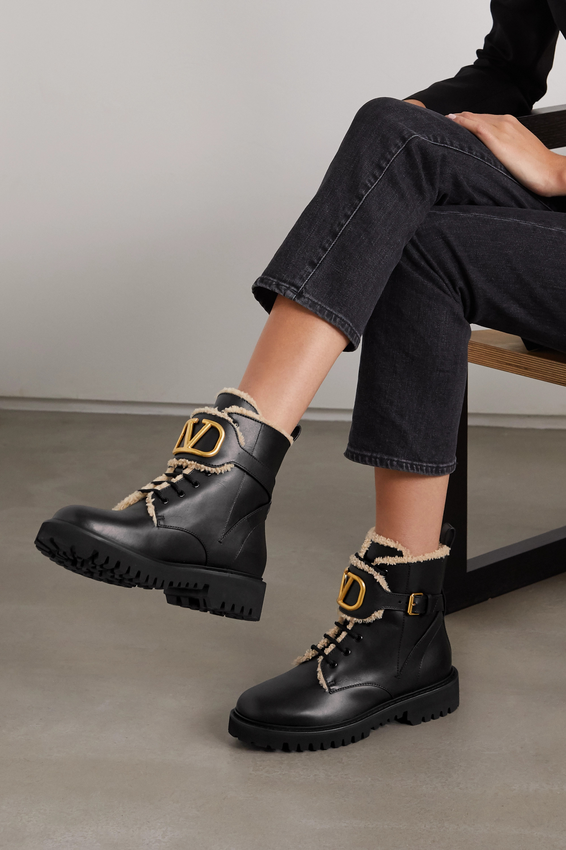 Valentino Valentino Garavani Go Logo embellished shearling-lined leather ankle boots
