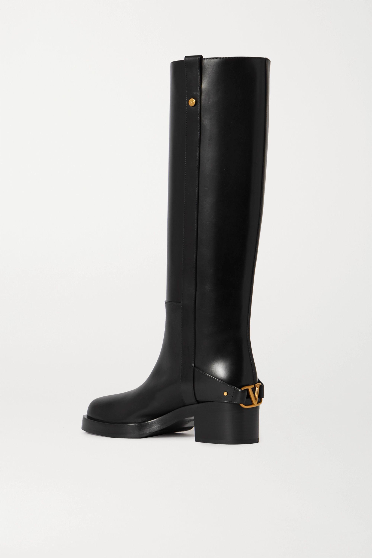 Valentino Valentino Garavani 55 logo-embellished leather knee boots