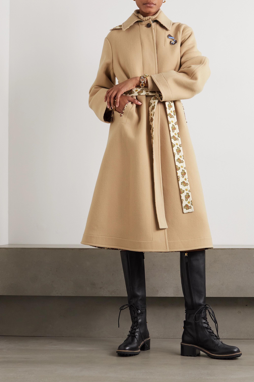 Chloé Embellished belted virgin wool and cashmere-blend coat