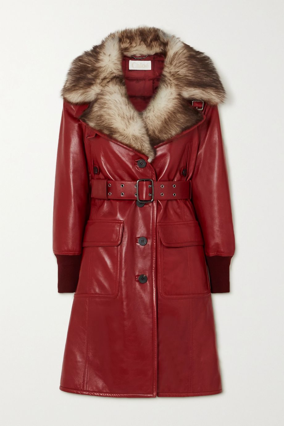 Chloé Belted shearling-trimmed leather coat