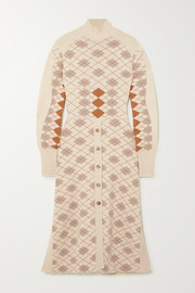 Chloé Paneled argyle wool and cashmere-blend midi dress
