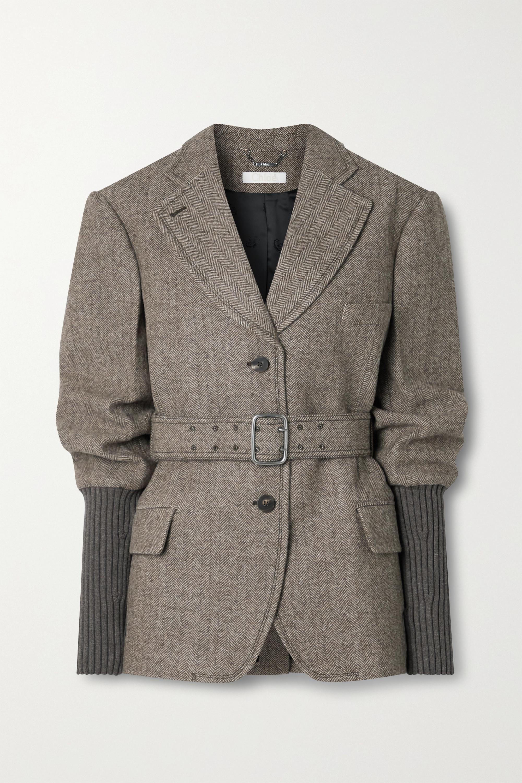 Chloé Blazer aus Rippstrick und Wolle mit Fischgratmuster und Gürtel