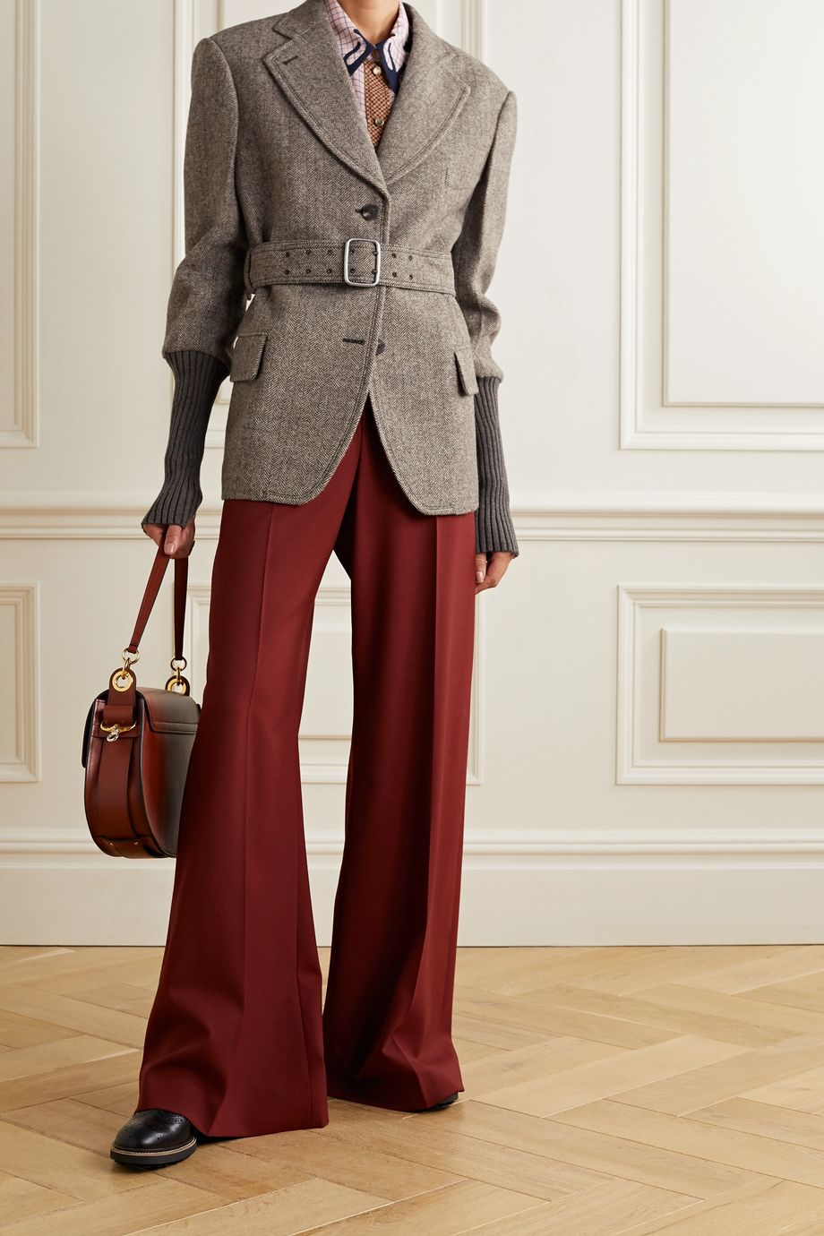 Chloé Belted herringbone wool and ribbed-knit blazer
