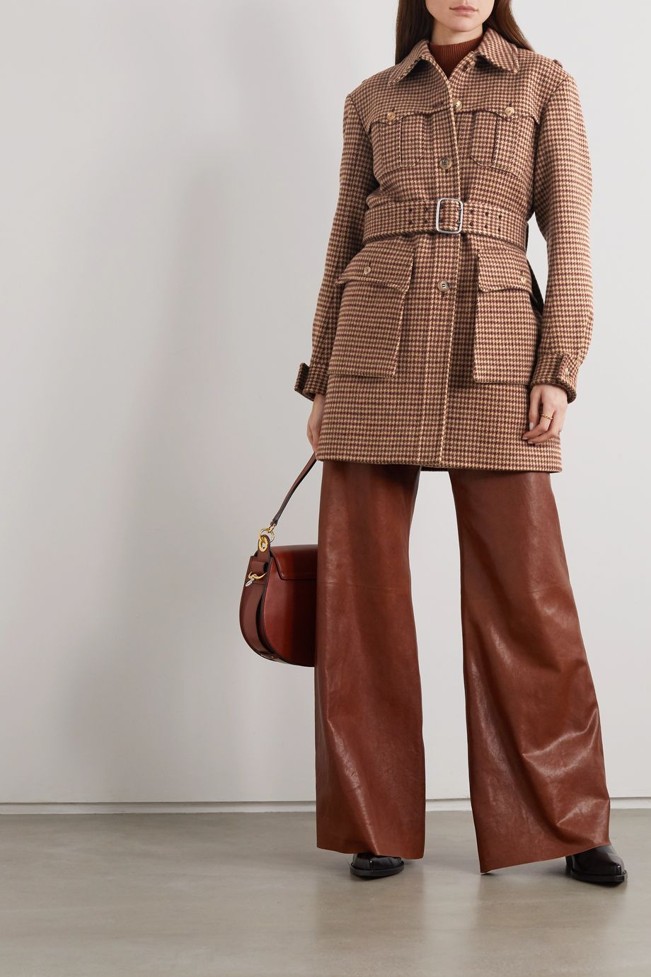 Chloé Belted checked wool-tweed jacket