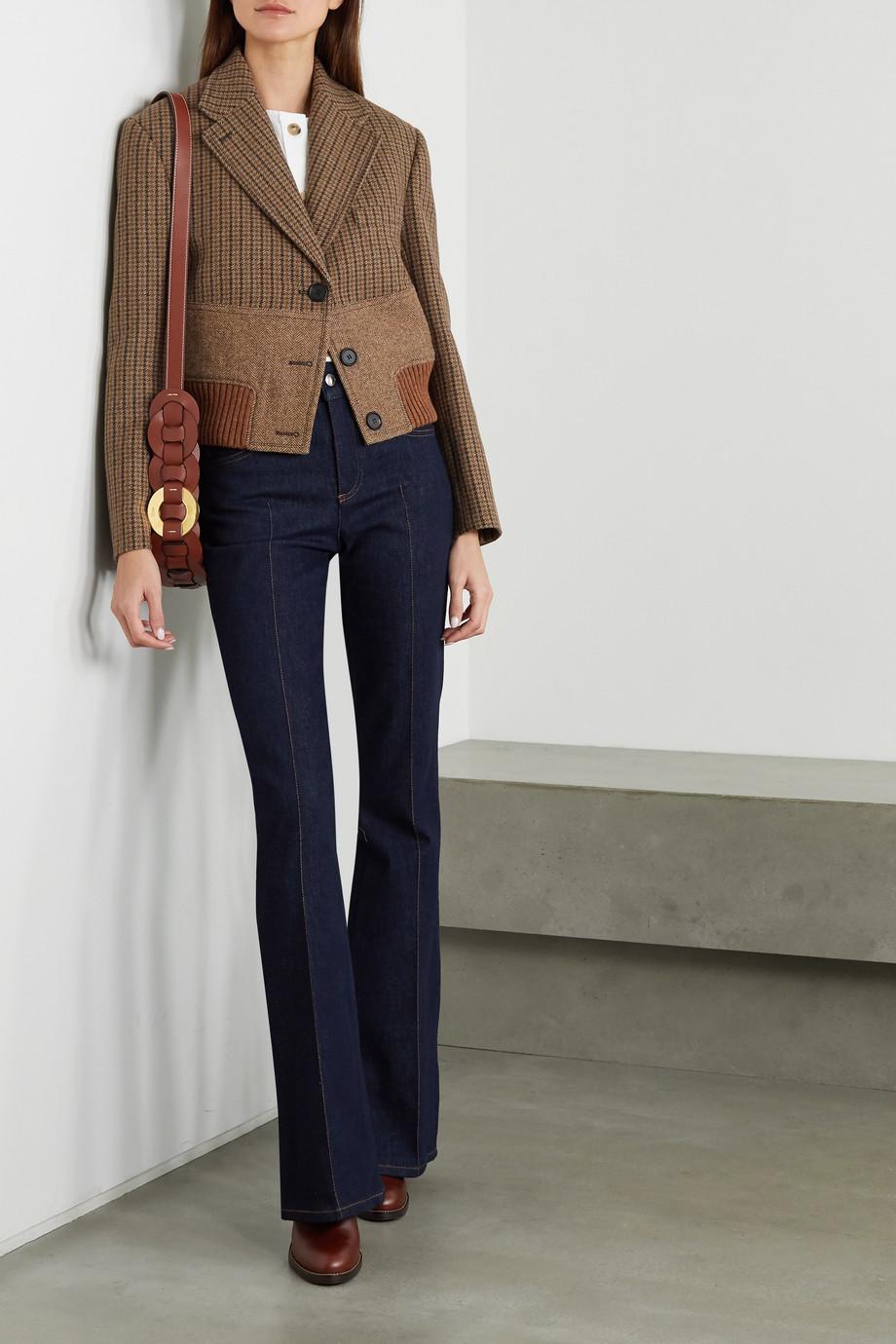 Chloé Cropped paneled wool-tweed jacket