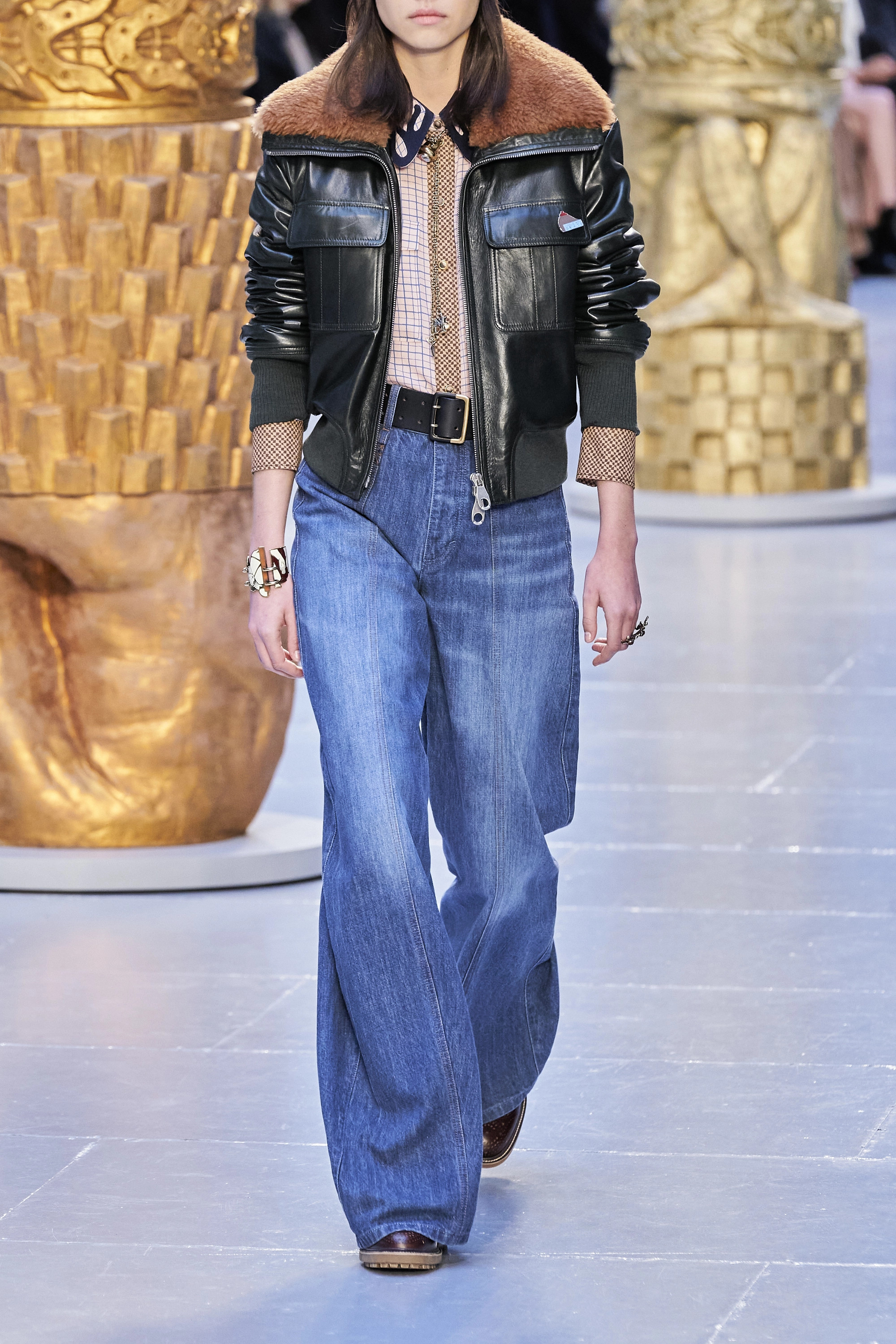 Chloé Shearling-trimmed leather jacket