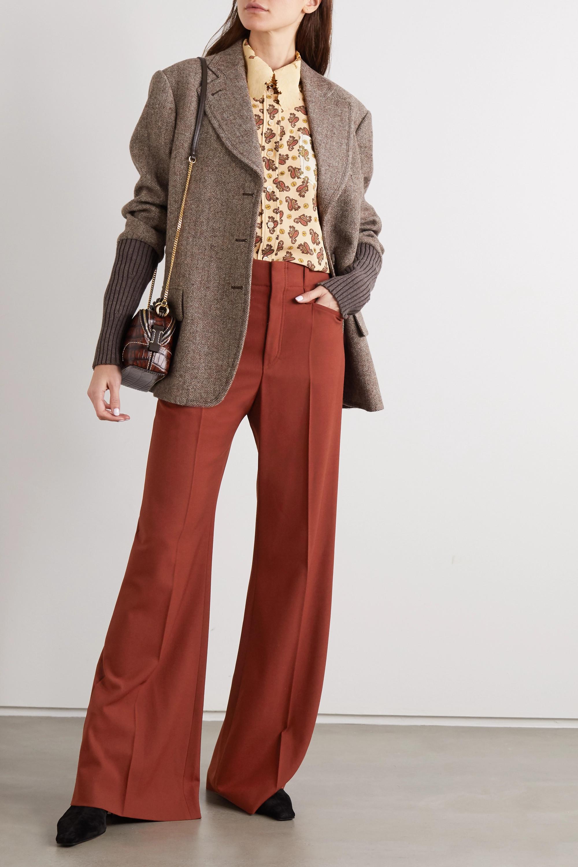Chloé Hose mit weitem Bein aus Grain de Poudre aus einer Wollmischung