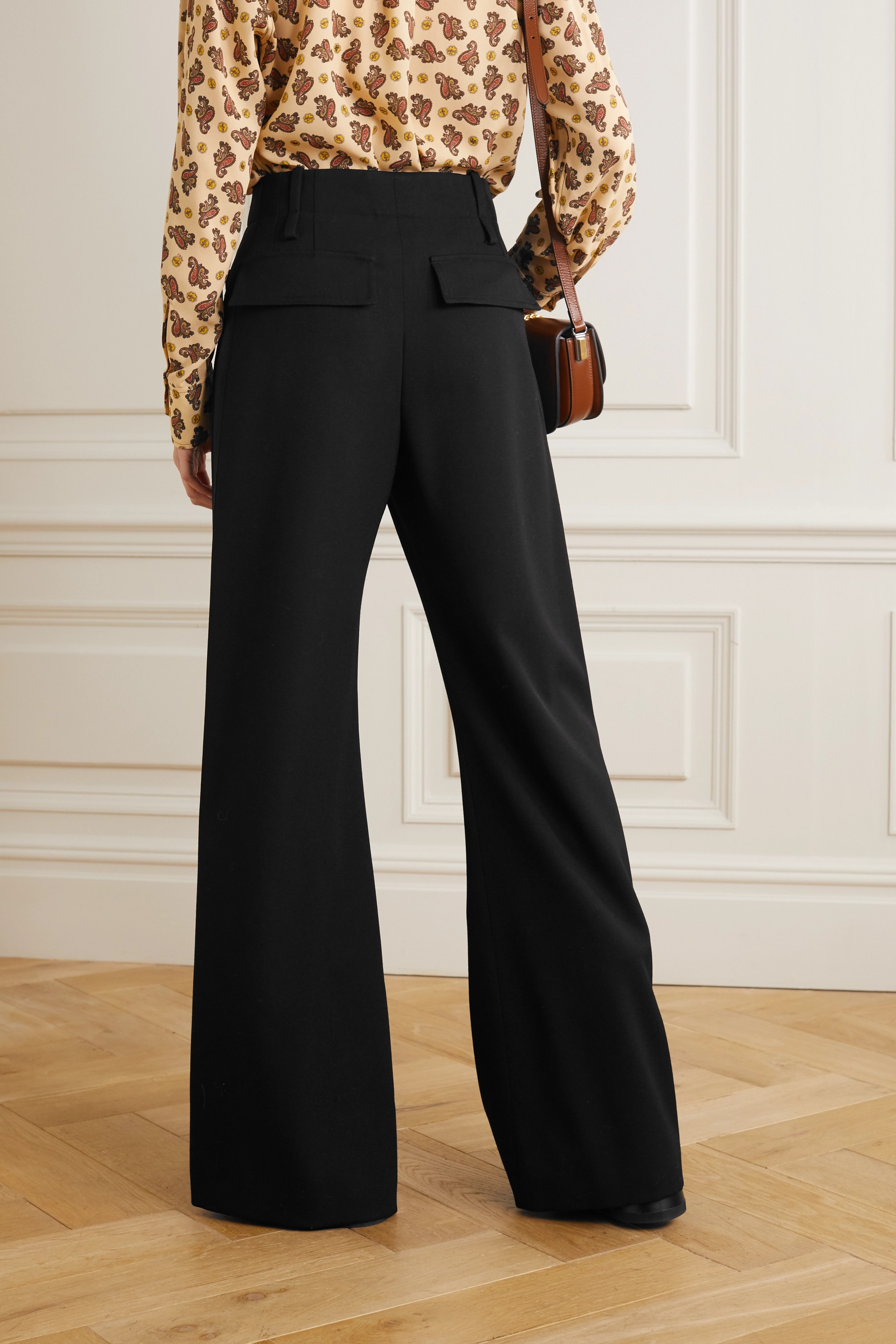 Chloé Satin-trimmed wool wide-leg pants