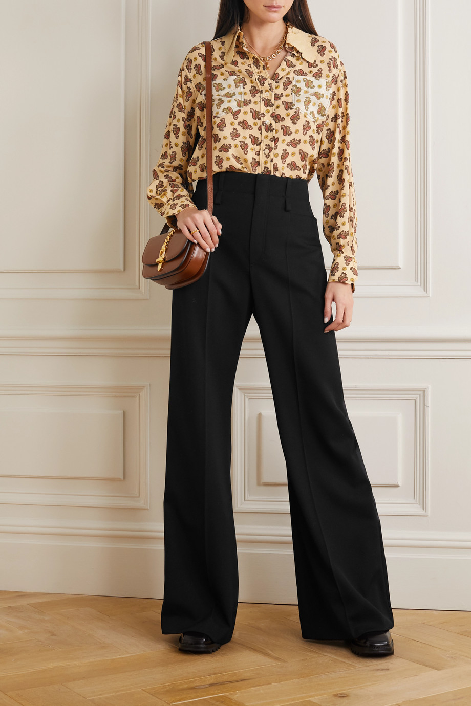 Chloé Satin-trimmed wool wide-leg pants
