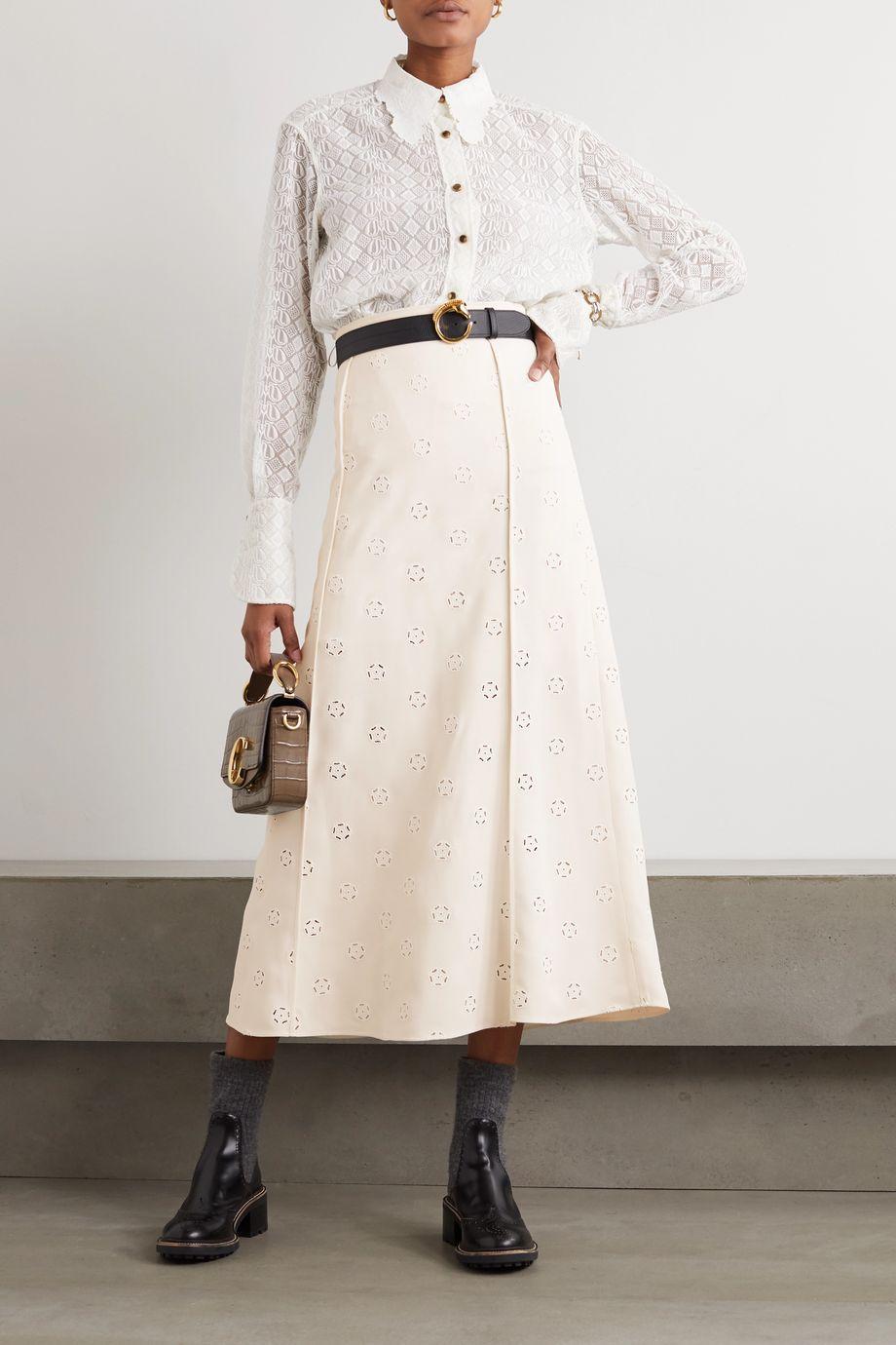 Chloé Broderie anglaise crepe midi skirt