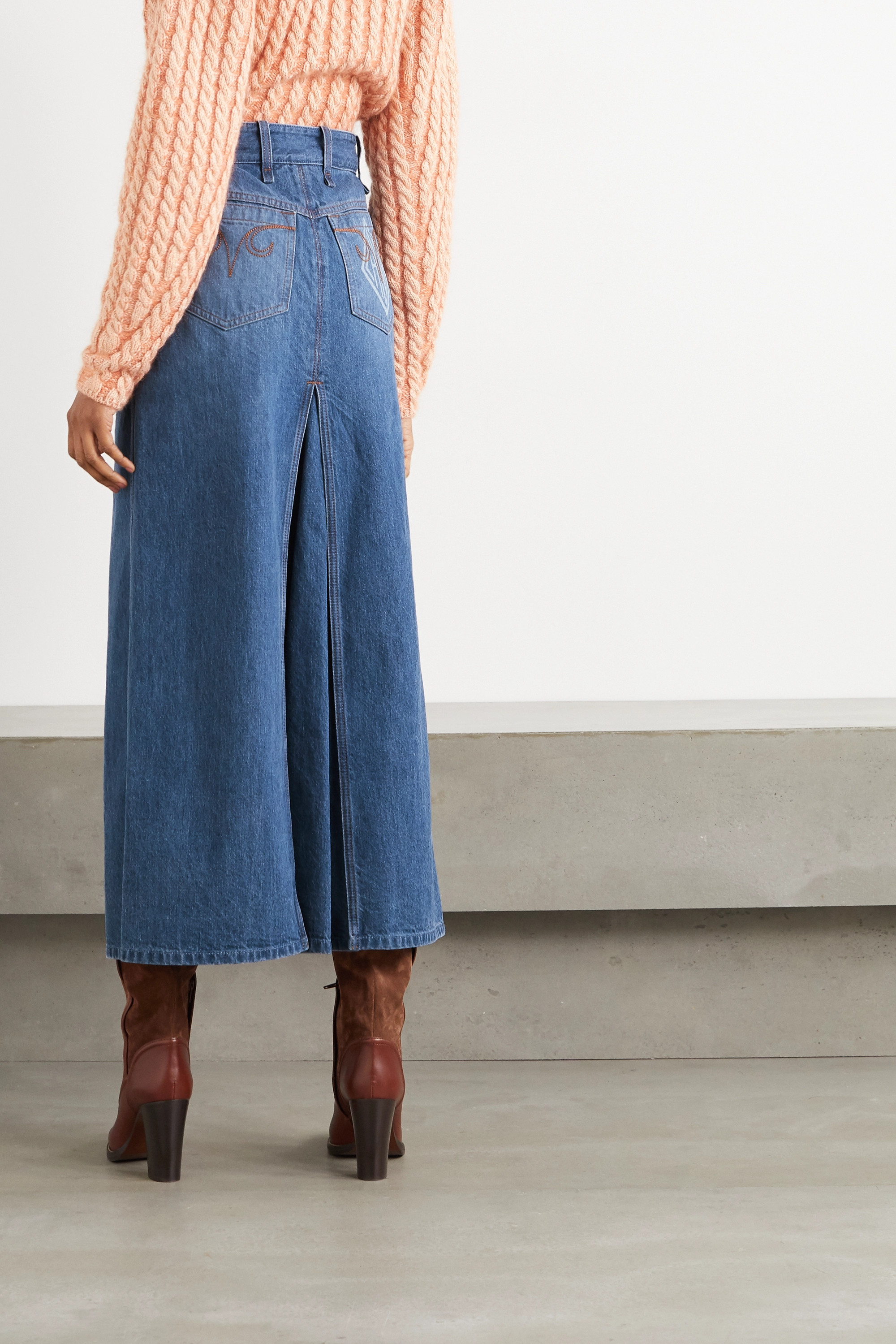 Chloé Layered denim maxi skirt
