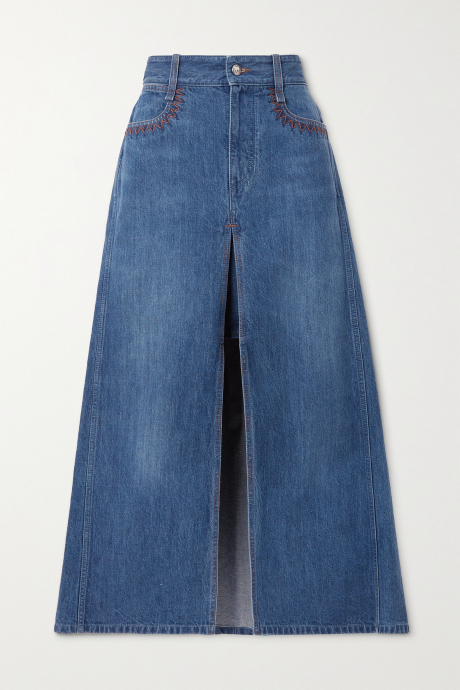 Chloé Layered denim maxi skirt