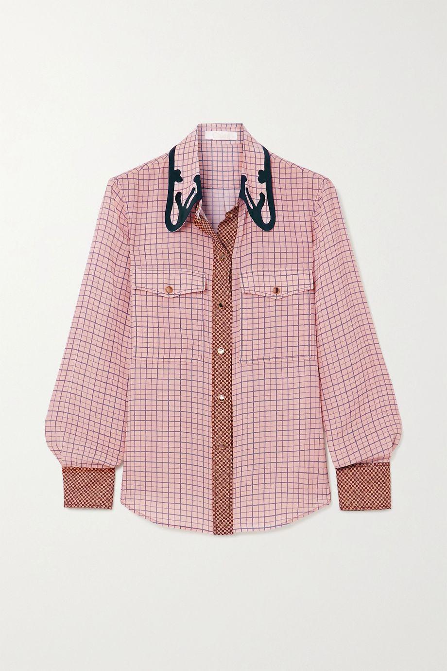 Chloé Checked silk-crepe shirt