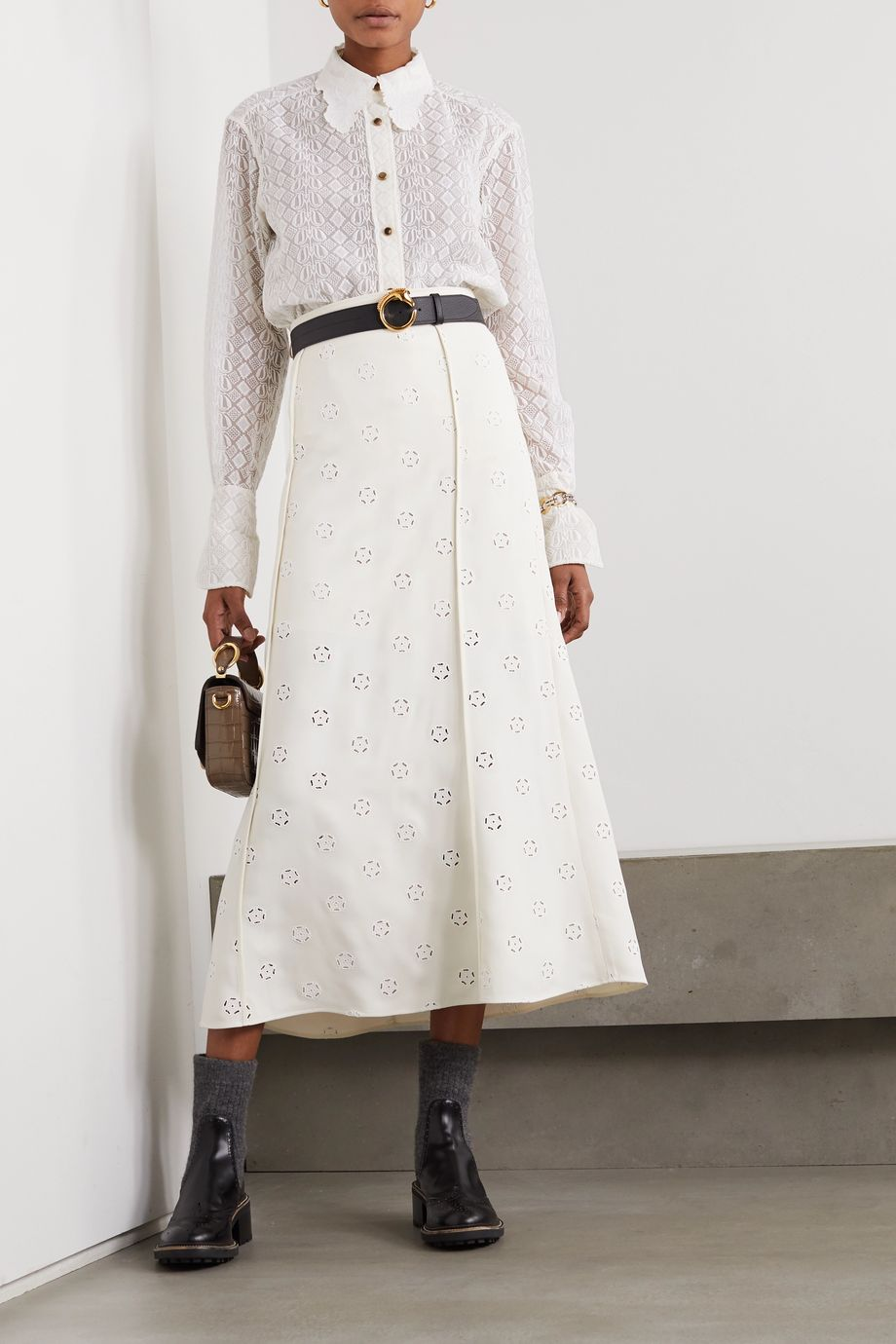 Chloé Embroidered silk-lace shirt