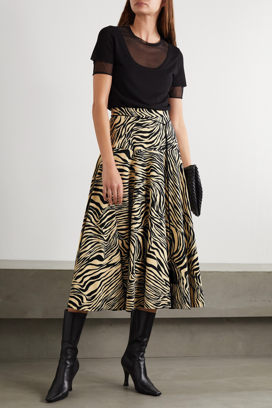 Christopher Kane Pleated zebra-print crepe midi skirt