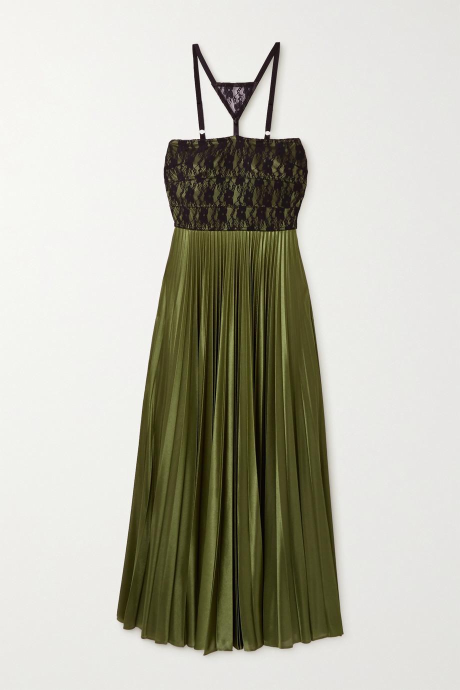 Christopher Kane Lace-paneled pleated satin maxi dress